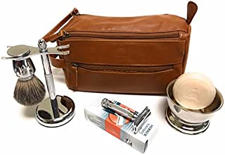 GBS Deluxe Travel Set with 34c - Doppler Bag + Shaving Bowl with Soap, Razor & Brush Stand + Blades Enjoy This Classic Vintage Wet Shave Set for Men with German made razor