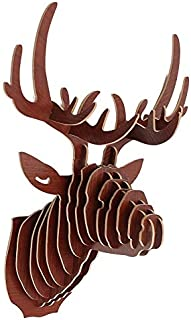 Figurines & Miniatures - Modern 3d Wooden Animal Elk Deer Head Art Model Sculpture Figurines Diy Puzzle Ornaments Home Wall - Deer Deer Statue Wood Sculpture Sticker Wood Shellfish Tattoo Woode