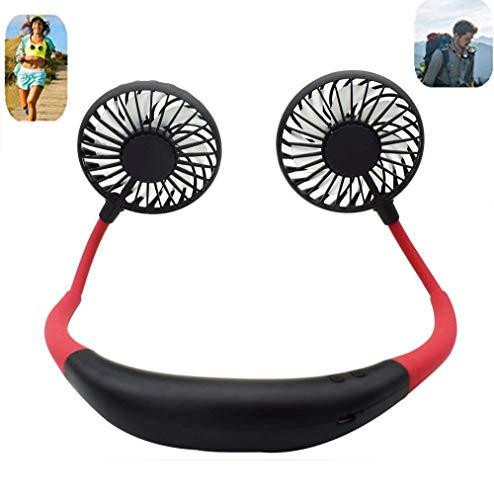 Portable Sports Neck Hanging Fan,USB Rechargeable 2000mAh Hands-Free Mini Fan, Pocket Fan, Travel Fan, Earphone Design Mini USB Fan,Wearable Necklance Fan High Quality With LED Double Wind Head(Black)