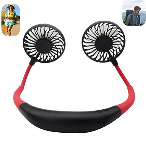 Portable Sports Neck Hanging Fan,USB Rechargeable 2000mAh Hands-Free Mini Fan, Pocket Fan, Travel Fan, Earphone Design Mini USB Fan,Wearable Necklance Fan High Quality With LED Double Wind Head(Black)