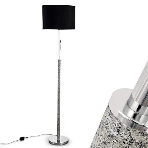 Lampadaire de salon Denver avec abat-jour noir et pied en aspect pierre – Elégant luminaire intérieur avec variateur d'intensité et interrupteur à cordon – Lampe sur pied au design classique