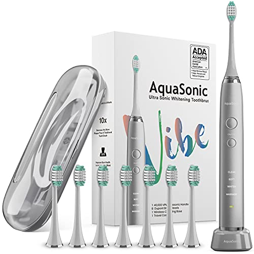 AquaSonic Vibe Series Ultra Whitening Toothbrush – ADA Accepted Electric Toothbrush - 8 Brush Heads & Travel Case - Ultra Sonic Motor & Wireless Charging - 4 Modes w Smart Timer – Charcoal Metallic