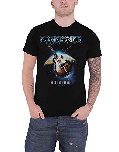 Foreigner T Shirt Juke Box Heroes Band Logo Official Mens Black Size XL