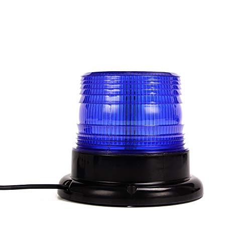 Luz LED estroboscópica, faro intermitente de advertencia de emergencia azul magnético para camión o vehículo con enchufe para mechero de coche de 12-80V