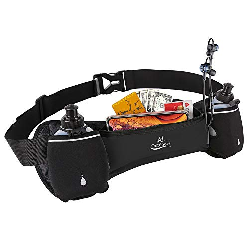 ANJ Outdoors (Update 2020 Hydration Running Belt with 2 Water Bottles | Waterproof Waist Pack for Men and Women | Universal Size to Hold Cell Phone, Wallet, and Keys