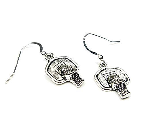 Silver Knight Tibetische Basketball-Ohrringe aus Sterlingsilber mit Haken für Sportfans, Athleten, Mannschaftsmoma, inklusive Geschenkbeutel