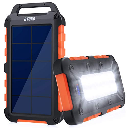 Solar Charger, RYOKO 10000mAh Portable Solar Power Bank, Outdoor IPX4 Waterproof Phone Charger with Dual USB 5V 2.1A/2A and LED Flashlight, External Battery Packs with Solar Charging for iOS & Android
