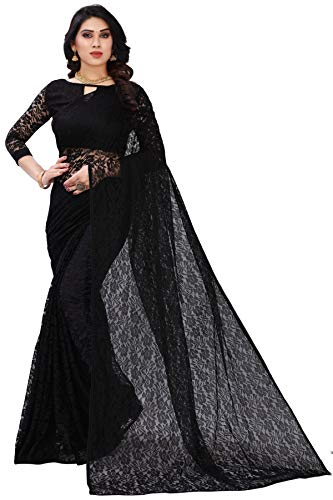Koustav Women's Georgette Net Saree With Blouse Piece (Black)