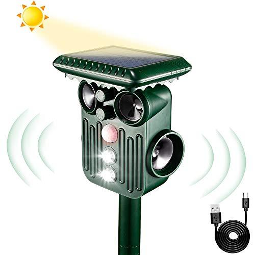 Solar Ultraschall Abwehr Katzenschreck,mit 5 einstellbaren Modi und 2 Lademodi, Katzenschreck Tiervertreiber mit 4 Ultraschalllautsprechern,wasserdicht IPX5, Frequenz 13,5kHz-1000Hz (grün)