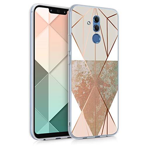 kwmobile Hülle kompatibel mit Huawei Mate 20 Lite - Handyhülle Silikon Hülle - Glory Dreieck Beige Rosegold Weiß