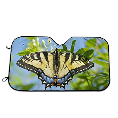 Y.Z.L. Auto Windschutzscheibe Sonnenblende Schmetterling mit lebenden Raupen Auto Sonnenschutz für Frontscheibe Sommer Hitzeschutz UV Schutz 130x70cm