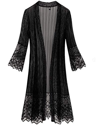 Tanming Flare Sleeves Open Front Lace Splicing Long Kimono Cardigan Cover Ups (XX-Large, Black) (Flare Kimono)