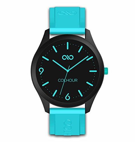 Colhour Watches - Orologio da polso unisex con cinturino in silicone, progettato e realizzato in Spagna e movimento giapponese Miyota by Citizen. Striscia Unisex 41mm diámetro turchese