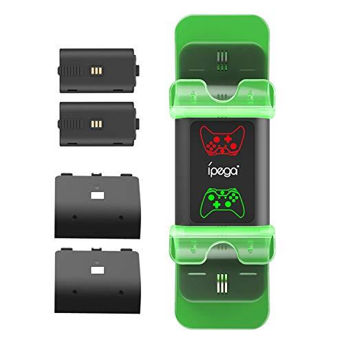 N/Z X Box Controller Cargador Batería para X Box Series X/S,Wireless Handstation Ladestation, con 2 baterías de 1000 mAh, Dual Canal Charge, LED indicador de estado de carga