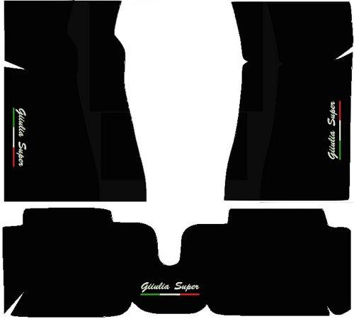 SonCar Tappeti per Auto Neri con Posteriori Uniti, Set Completo di Tappetini in Moquette su Misura con Ricamo a Filo Linea Tricolore Italiana