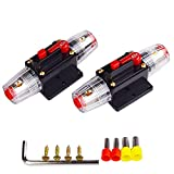 2 Pieces Car Audio 60 Amp Resettable Fuse Circuit Breaker Car Protect for Audio System Fuse + Brass Terminal (Random Color) + Hexagonal Wrench + self-Tapping Screw