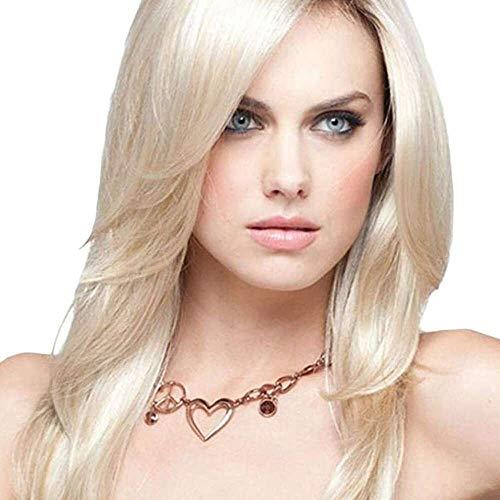 Yuyanshop Pelucas largas rubias Bob para mujeres con flequillo lateral Pelucas capas peluca larga recta libre pelo sintético resistente al calor (rubio)