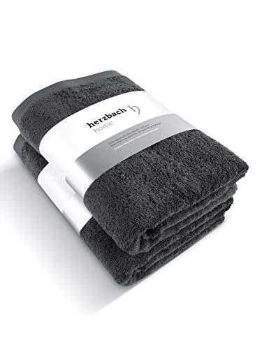 herzbach home Handtuch Duschtuch 2er-Set Premium Qualität aus 100% ägyptischer Baumwolle 70 x 140 cm 600 g/m² (Anthrazit)