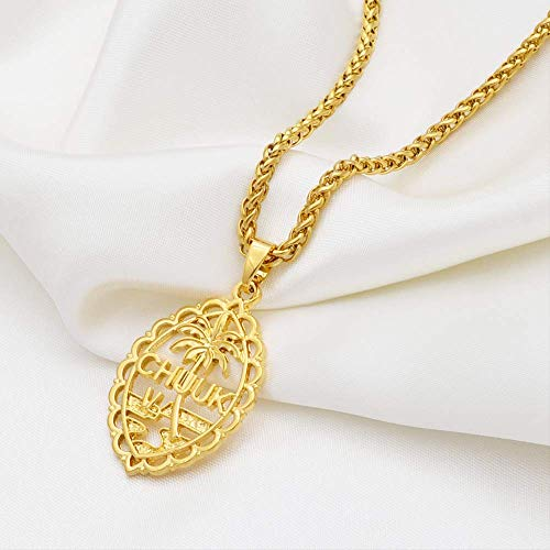 Micronesia Chuuk Pendant Necklaces For Women Men Girls Gold Color Jewelry Ethnic Party Accessories