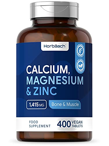 Calcium Magnesium Zinc Complex | 400 Vegan Tablets | Muscle & Bone Support Formula | Non-GMO, Gluten Free Supplement