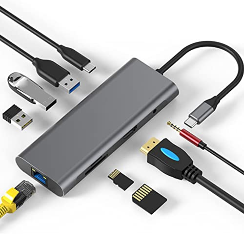 TBNOONE 9 En 1 Tipo C Hub, Adaptador De Tipo C con Hdmi 4k, 3 Puertos USB 3.0, Cargador De PD, Lector De...