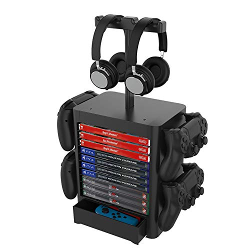 Cybcamo Universal Video Game Storage Tower - Game Disk Rack/Headset Hanger and Controller Organizer Stand for PS5/PS4/Xbox Series X/Xbox One/NS Switch and Accessories (Black)