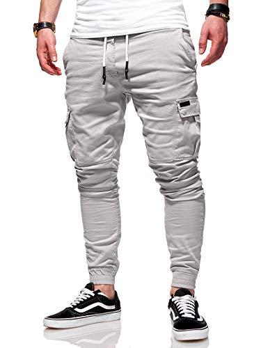 behype. Herren Cargo Chino-Hose Jogger Jeans-Hose 80-8393 Hellgrau W29