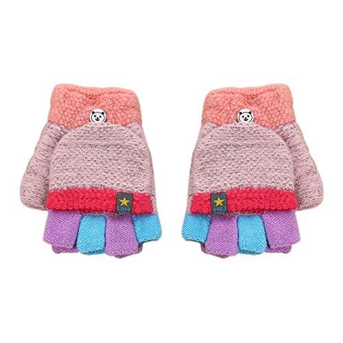 LAAT Herbst und Winter Kleinkind Jungen Mädchen Warme Handschuhe Winter Halbfinger Handschuhe Fingerlose Fäustling Fäustlinge Fingerhandschuhe mit Flip Top