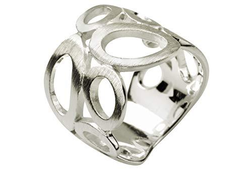 SILBERMOOS Damen Ring Motiv Bandring oval matt Sterling Silber 925, Größe:54 (17.2)