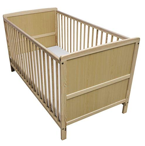 Kinder Valley Solid Pine Wood 2-in-1 Junior Cot Bed with a Flow Mattress, Natural, 144 x 76 x 80 cm