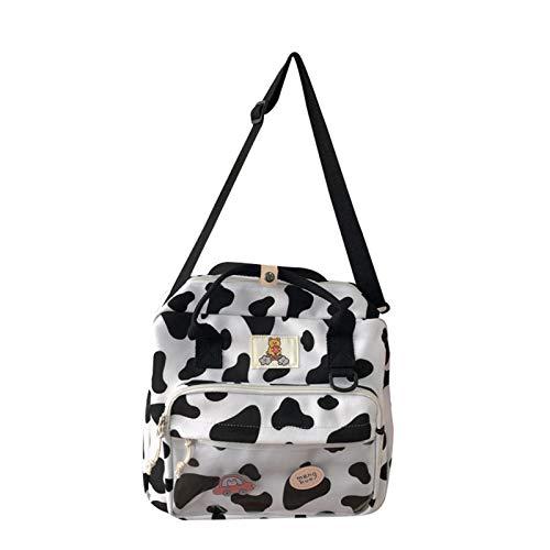 Bonita mochila para mujer 3 en 1 con diseño de vaca, multifunción, bolsillo frontal transparente, pequeña mochila escolar, para mujer