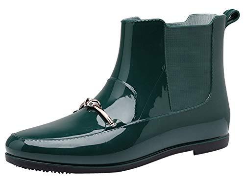 レインブーツ ファッション ブーツ 防水 ミドル丈 ラバー 長靴 シンプル レインシューズ グリーン(防寒) 25