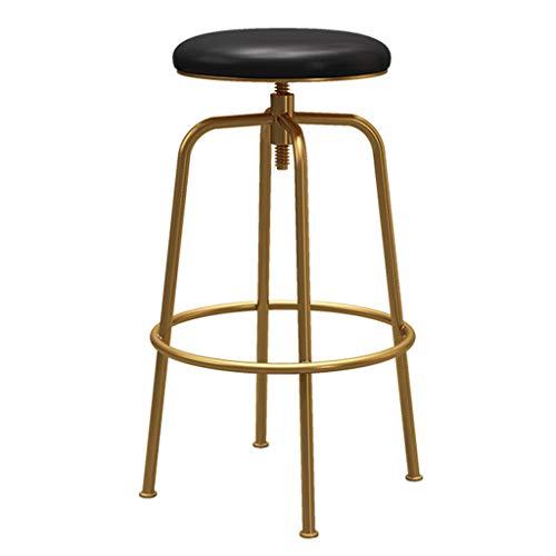 Sgabelli da bar girevoli in metallo, sedile rotondo in ecopelle, gambe in metallo dorato, sgabelli da bar regolabili in altezza, nero