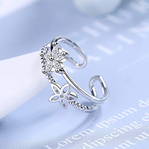 BNFG Open Rings For Womenm,Fashion Ladies Adjustable Open Rings Crystal Zircon Simple Hollow Flower Design Silver Elegant Ring Engagement Eternity Xmas Jewellery Gift For Women Girls