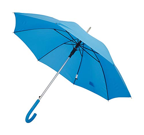 TAHARI Automatic Open Aluminum Shaft Rubberized Grip Handle Umbrella (Light Blue)