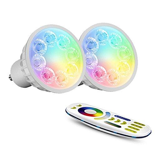 Mi-Light Kingled MiLight Starter-Set mit 2x LED-Strahlern GU10, 4 W, RGB+CCT, mehrfarbig und Weiß und Universal-WLAN-Fernbedienung für 2,4 GHz