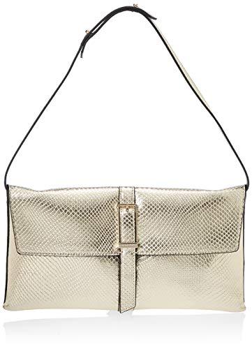 Calvin Klein Winged Shoulder Bag, Damen Umhängetasche, Gold (Champagne), 2.5x16.5x31 cm (W x H L)