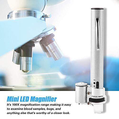 Lupa Microscopio, 100X Mini luz LED Portátil de mano Joyas Lupa Lupa Microscopio Ligero Bolsillo Cristal + Funda de cuero