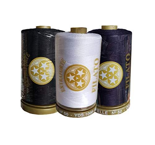 Filo da Cucito Tre Stelle Marca Oro (Blu-Bianco-Nero Mix, 3pz)