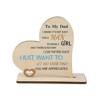 PRSTENLY Birthday Gifts for Dad from Daughter Son Wood Plaque Inspiring Quotes Handmade Heart Signs Home Decor Thanksgiving for Father
