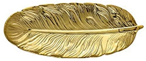 Plato decorativo Plato de cerámica con forma de hoja de plátano Bandeja de exhibición de joyería de lujo Plato de aperitivos Plato de servicio para cafetería Restaurante-Gold  L
