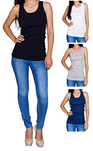Womens Tank Tops, Basic Cotton Ribbed Racerback Tanktop (3 Pack) (Large, Assortment 1)
