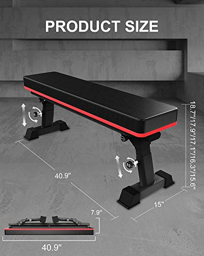 YouTen Weight Bench for Weight Lift Height Adjustable Exercise Bench for Home Use Black