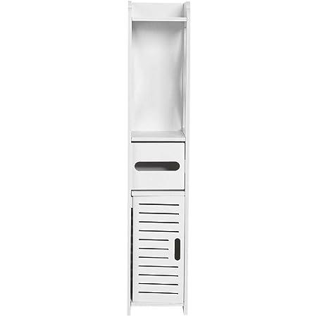 mobile a colonna bianco Mobile portaoggetti in legno per bagno 80 x 15,5 x 15 cm bagno porta carta igienica