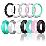 HDSUDCG Silicone Wedding Ring Bands for Women 12 Pack Size 4 5 6 7 8 9 Womens Thin Stackable & Glitter Powder Rubber Wedding Band Rings 5.7mm & 3mm Wide (Mulit-Color, 6.5-7(17.3mm/0.68inch))