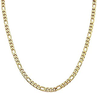 Dubai Collections 24K Figaro 5mm Gold Chain Necklace Jewelry Men/Women Life Time USA Made