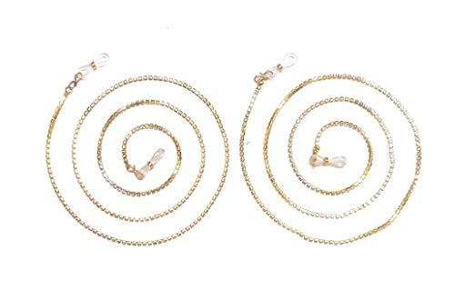 artNtrend Eyeglass Sunglass Spectacle Cord & Lanyard Neck Strap String Chain Link Holder Golden (Set of 2)