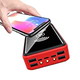 YLDXP Solar Charger 80000mAh Qi Wireless Power Bank Waterproof External Battery Pack with Solar Panel Fast Charging, LED Flashlights, Compatible for iPhone, Samsung, Huawei Etc