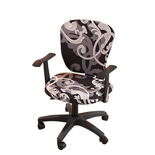 Jinzio Computer Office Chair Cover - Split Protective & Stretchable Cloth Polyester Universal Desk Task Chair Chair Covers Stretch Rotating Chair Slipcover, Grey Black