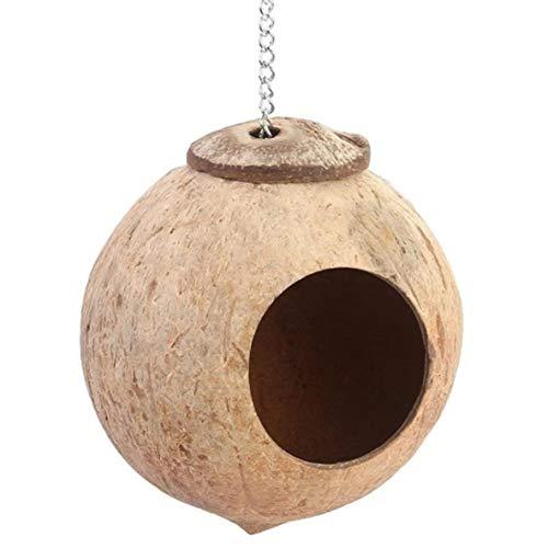 ACEHE Nido de concha de coco, nido de pájaros de cáscara de coco, nido de pájaros, loro, juguete para masticar pájaros, cláusula de juguete de pájaros, nido de concha de coco natural